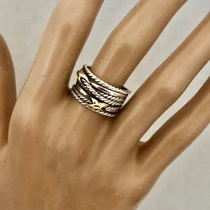 David Yurman 7 Double X 925 Crossover Ring 18K